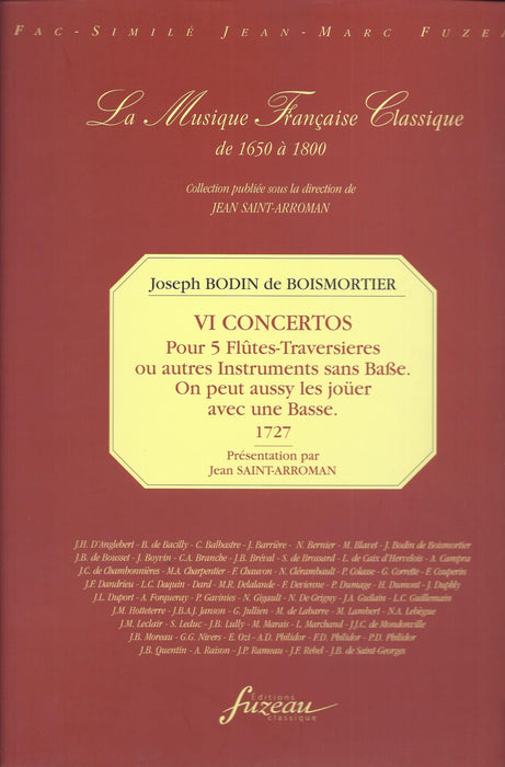 Boismortier: 6 Concertos for 5 Flutes without Bass (1727)