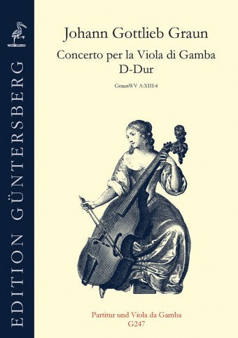 Graun: Concerto in D Major for Viola da Gamba- Score and Viol Part