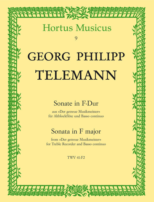Telemann: Sonata in F Major for Treble Recorder and Basso Continuo