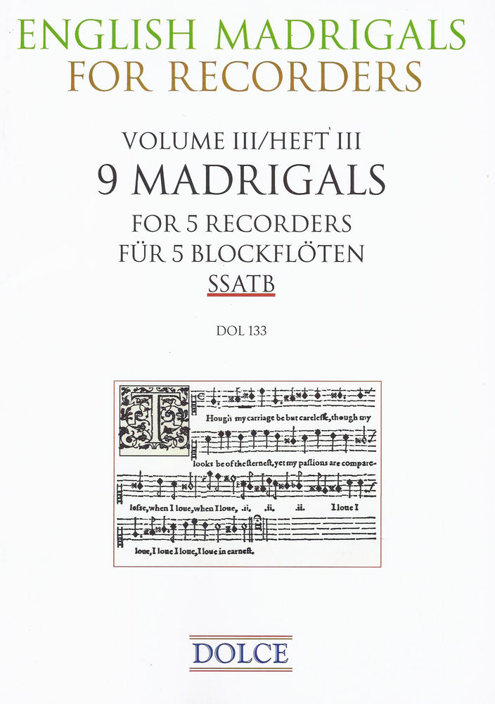 Various: 9 English Madrigals for 5 Recorders
