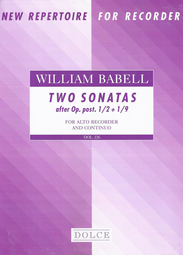 Babell: Two Sonatas for Treble Recorder and Basso Continuo