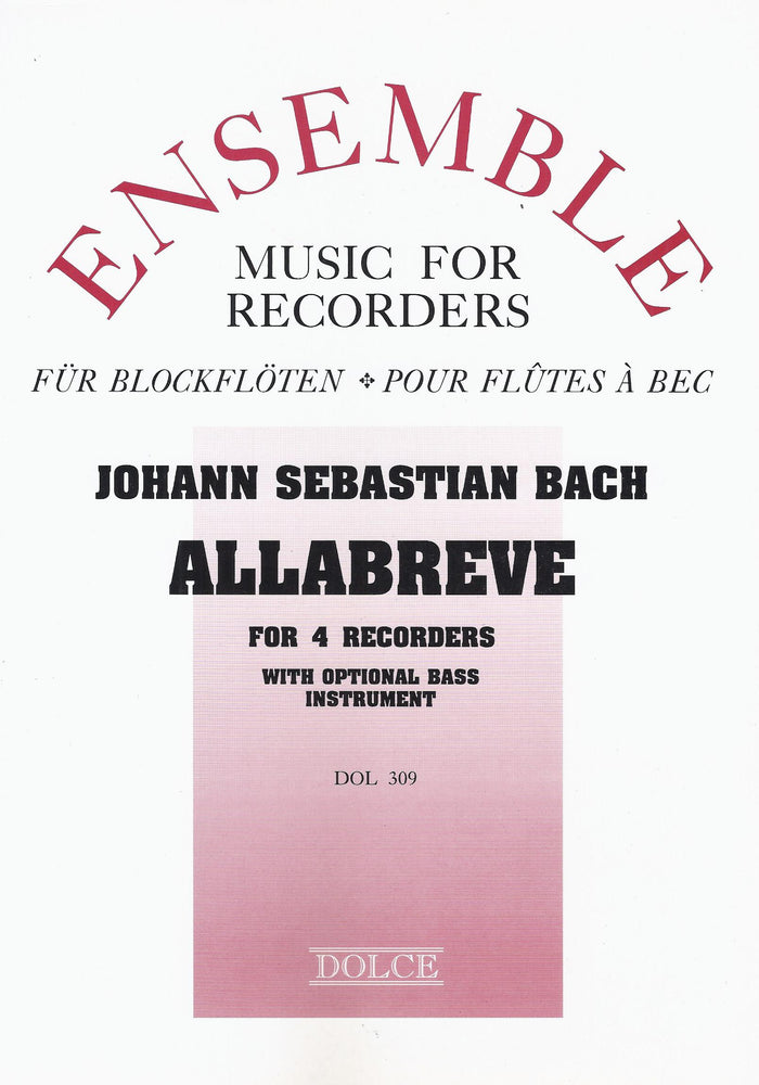 Bach: Allabreve for Recorder Quartet