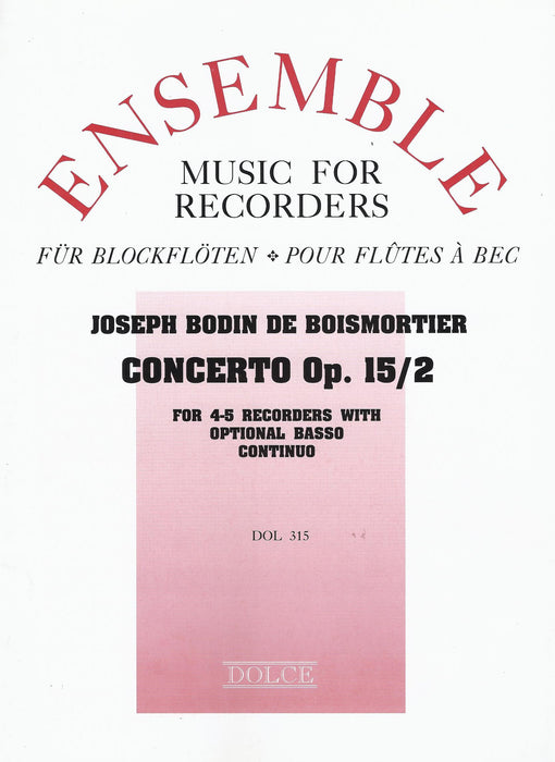 Boismortier: Concerto in C Minor Op. 15/2 for 4 Alto Recorders with Optional Basso Continuo