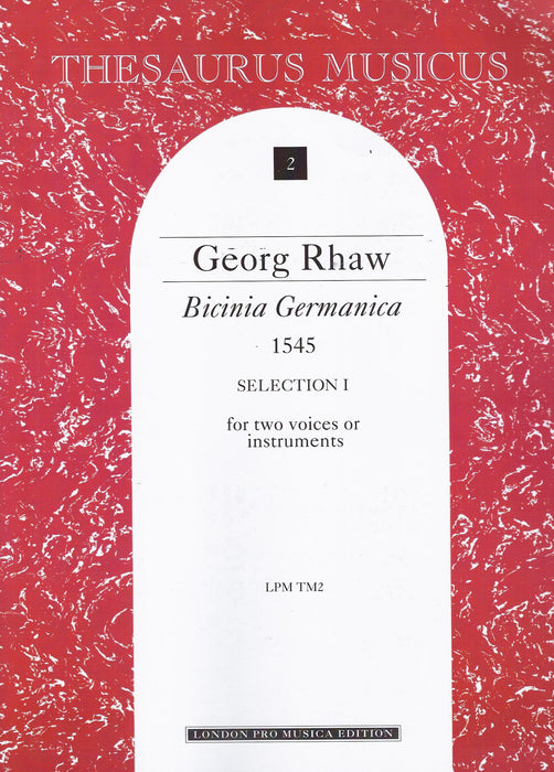 Rhaw: Bicinia Germanica 1545 for 2 Voices or Instruments