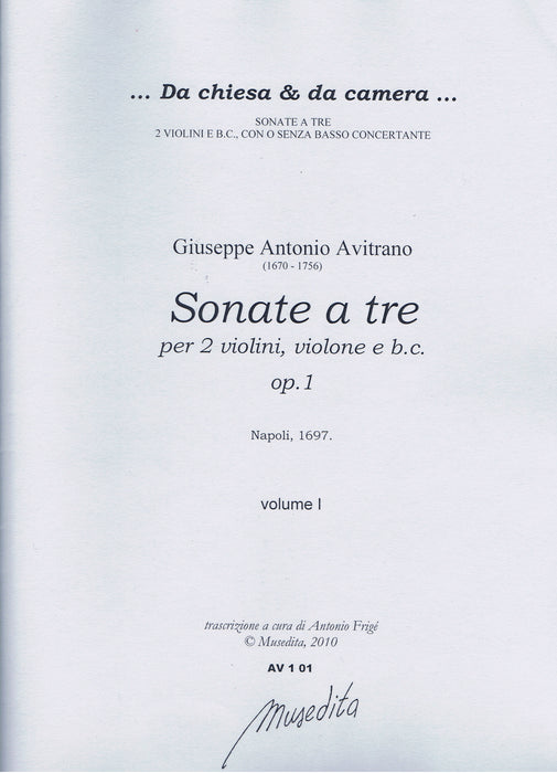 Avitrano: Sonatas for 2 Violins, Violone and Basso Continuo, Op. 1