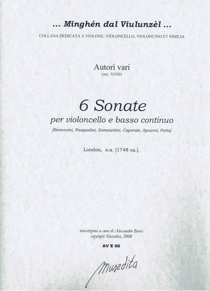 Various: 6 Sonatas for Violoncello and Basso Continuo