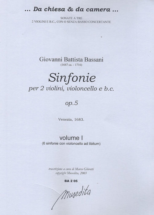Bassani: Sinfonias for 2 Violins, Violoncello and Basso Continuo, Op. 5