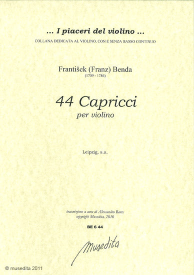 Benda: 44 Capricci for Violin Solo