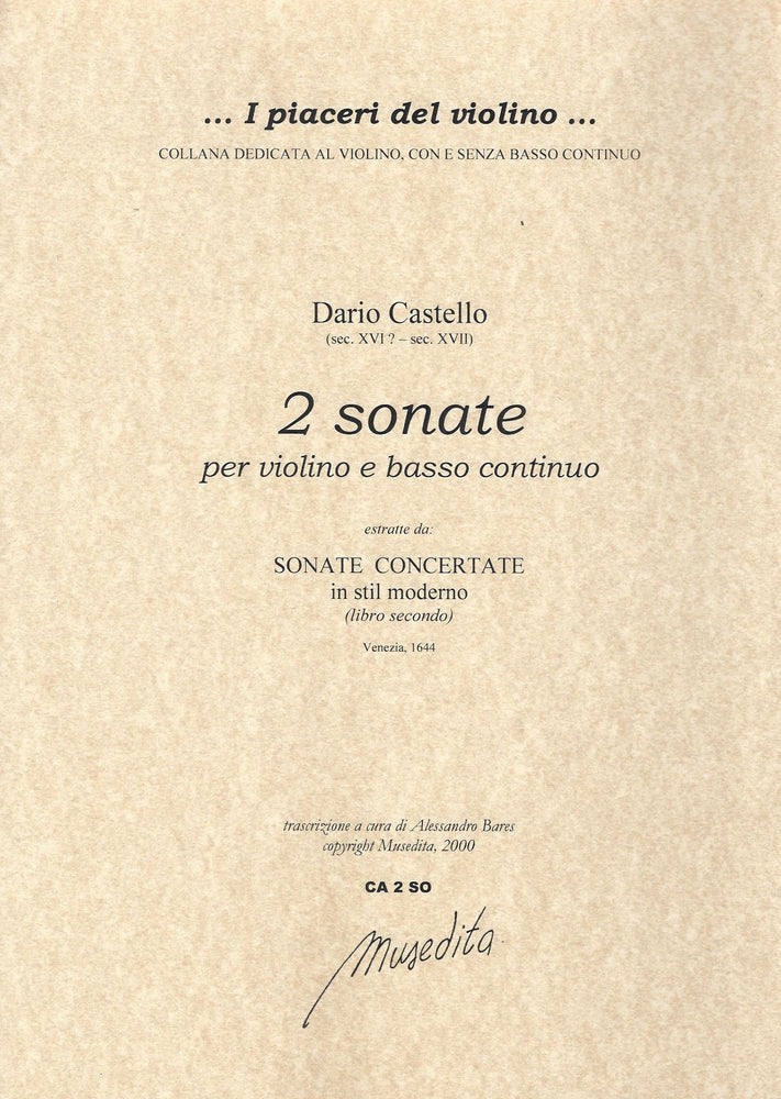 Castello: 2 Sonatas for Violin and Basso Continuo