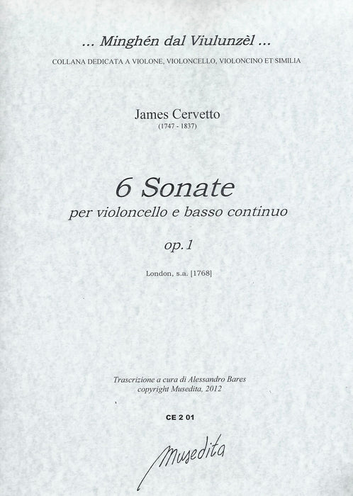 Cervetto: 6 Sonatas for Violoncello and Basso Continuo, Op. 1
