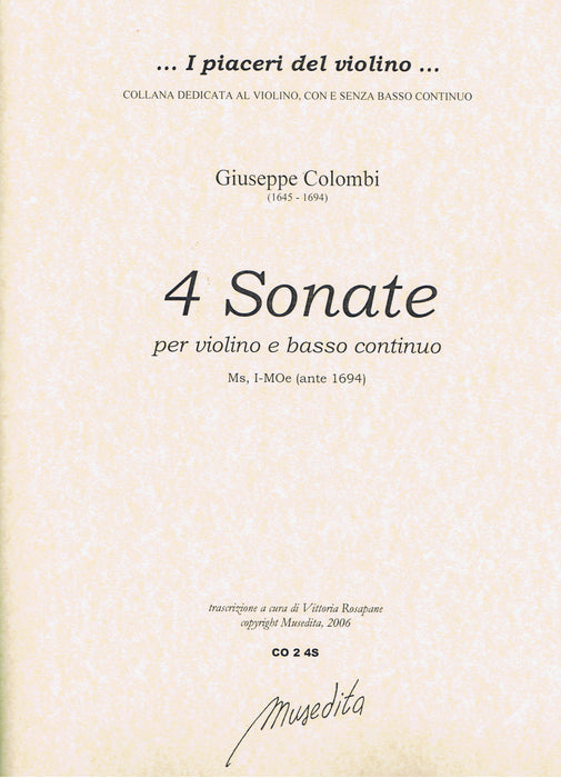 Colombi: 4 Sonatas for Violin and Basso Continuo