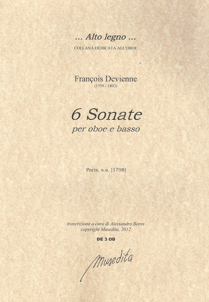 Devienne: 6 Sonatas for Oboe and Basso Continuo