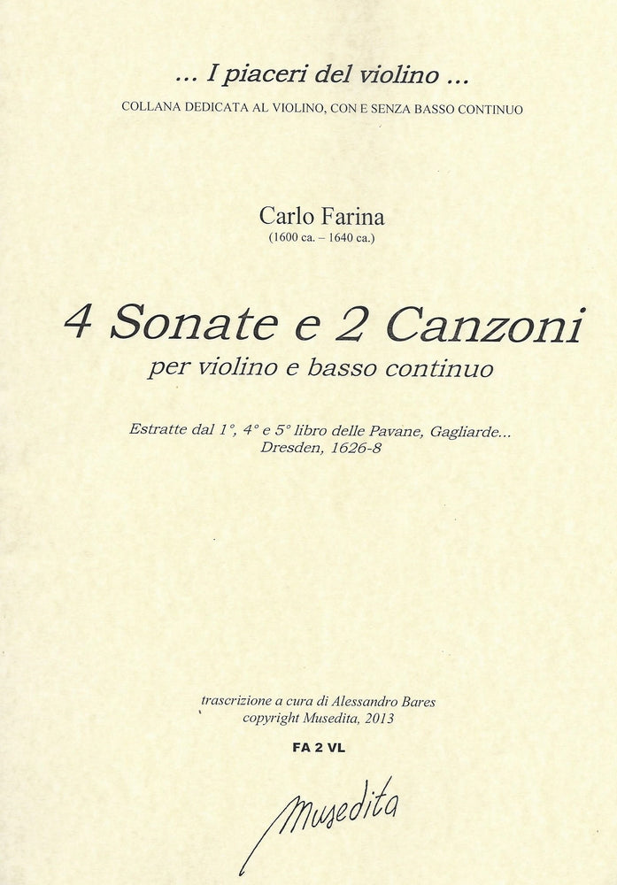 Farina: 4 Sonatas and 2 Canzonas for Violin and Basso Continuo