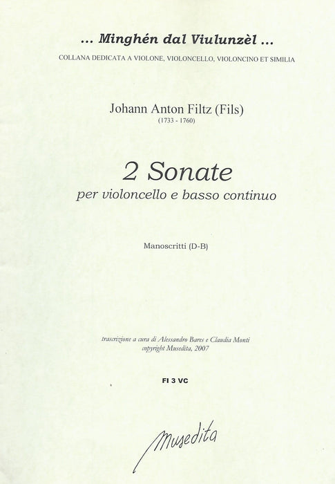 Filtz: 2 Sonatas for Violoncello and Basso Continuo