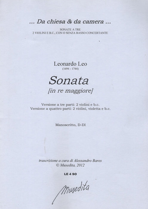 Leo: Sonata in D Major for 2 Violins and Basso Continuo