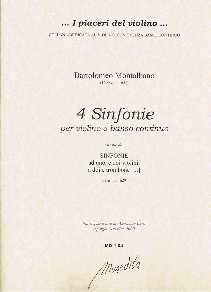 Montalbano: 4 Sinfonias for Violin and Basso Continuo