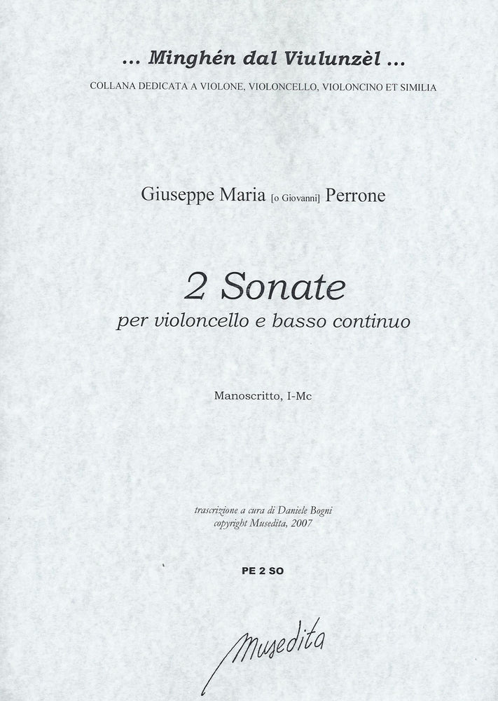 Perrone: 2 Sonatas for Violoncello and Basso Continuo