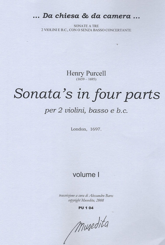 Purcell: Sonatas in 4 Parts for 2 Violins, Bass Instrument and Basso Continuo