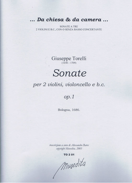 Torelli: Sonatas for 2 Violins, Violoncello and Basso Continuo, Op. 1