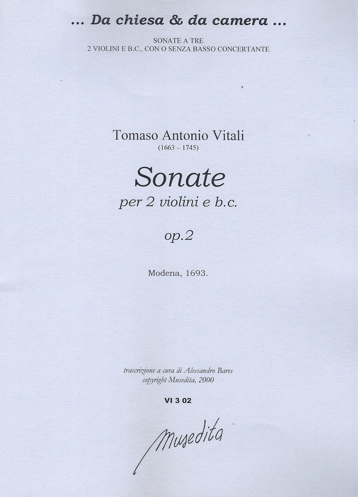Vitali: Sonatas for 2 Violins and Basso Continuo, Op. 2