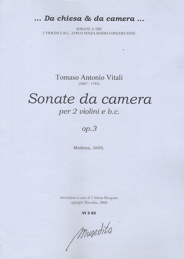 Vitali: Sonatas da Camera for 2 Violins and Basso Continuo, Op. 3