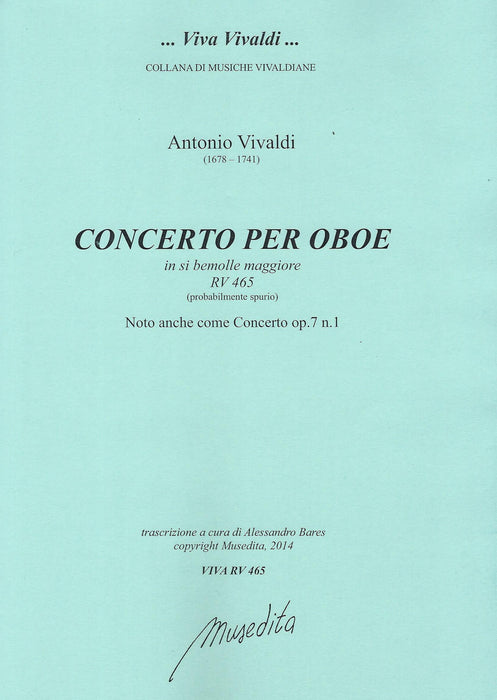 Vivaldi: Concerto in B Flat Major RV 465 for Oboe, Strings and Basso Continuo