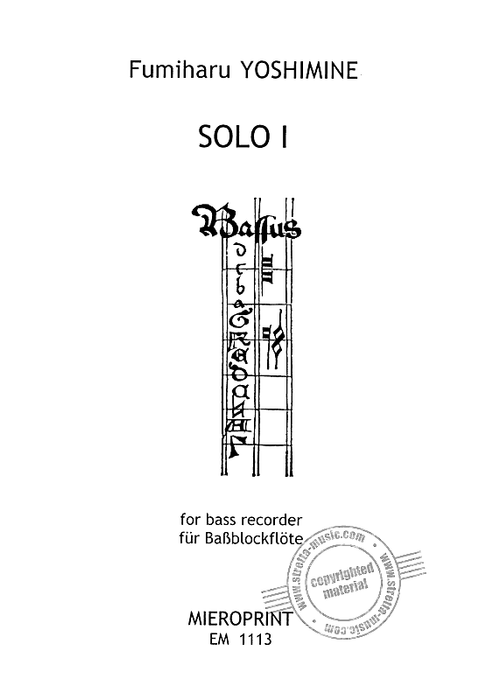 Yoshimine: Solo I for Bass Recorder
