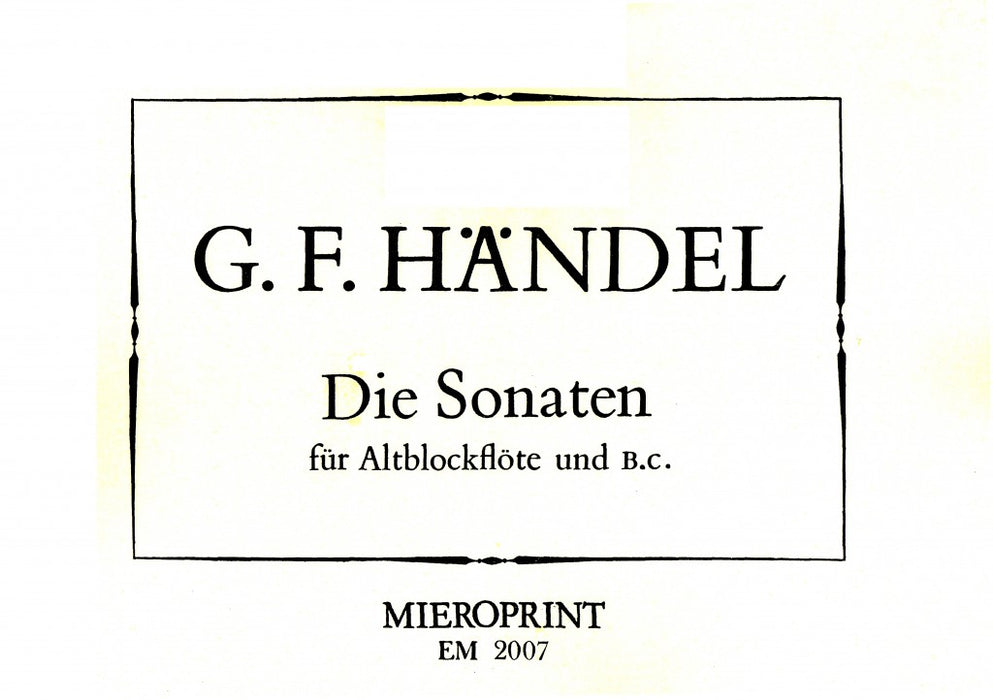 Handel: Sonatas for Treble Recorder and Basso Continuo