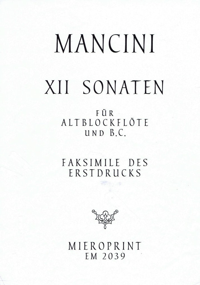 Mancini: 12 Sonatas for Treble Recorder and Basso Continuo