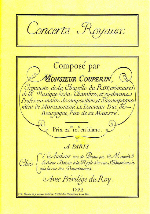 F. Couperin: Concerts Royaux for Flute and Basso Continuo