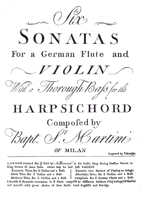 Sammartini: Six Sonatas for a German Flute and Violin with a Thorough Bass for the Harpsichord