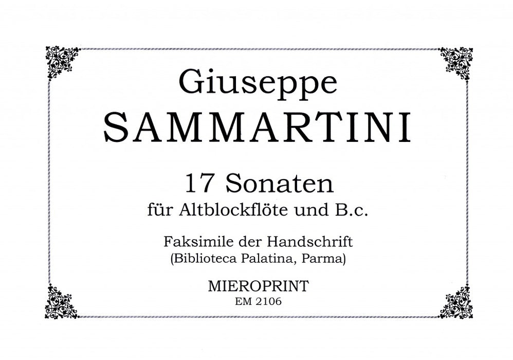 Sammartini: 17 Sonatas for Treble Recorder and Basso Continuo