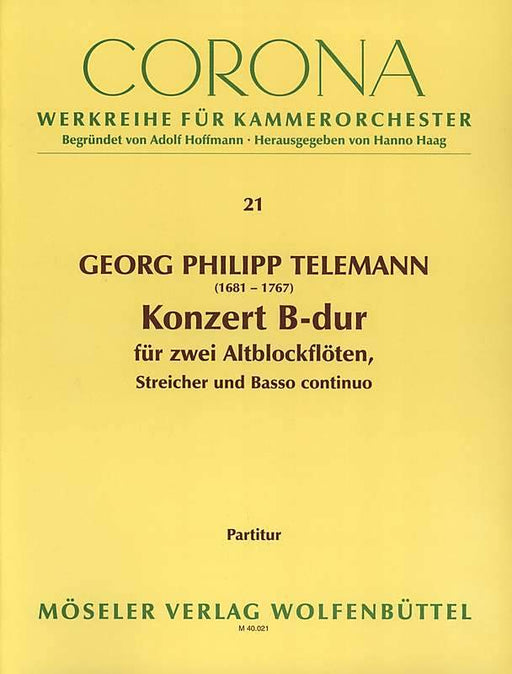 Telemann: Concerto in B Flat Major for 2 Treble Recorders, Strings and Basso Continuo - Score