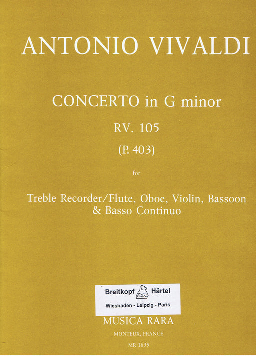 Vivaldi: Concerto in G Minor RV105 for Treble Recorder, Oboe, Violin, Bassoon and Basso Continuo