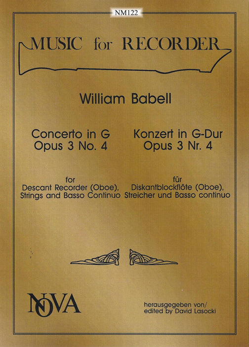 Babell: Concerto in G Major Op. 3 No. 4 for Descant Recorder, Strings and Basso Continuo