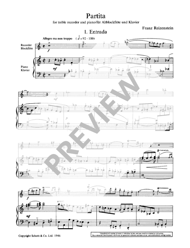 Reizenstein: Partita for Treble Recorder and Piano