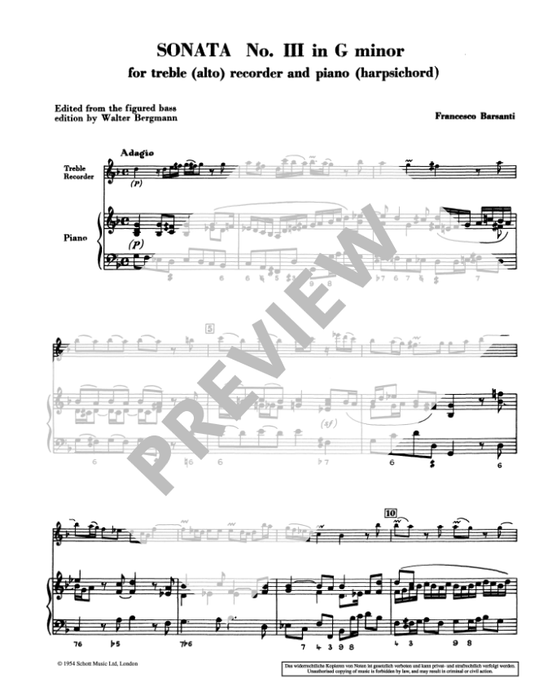Barsanti: Sonata No. 3 in G Minor for Treble Recorder and Continuo