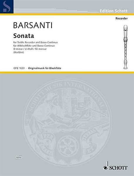 Barsanti: Sonata in D Minor for Treble Recorder and Continuo
