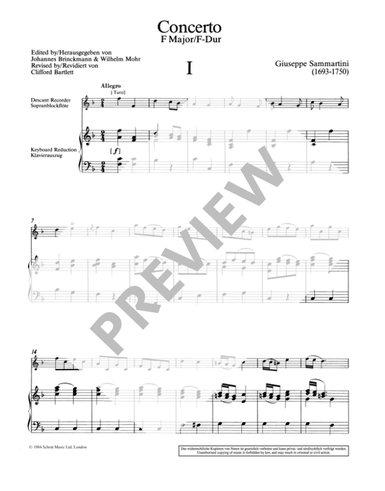 Sammartini: Concerto in F Major for Soprano Recorder and Strings