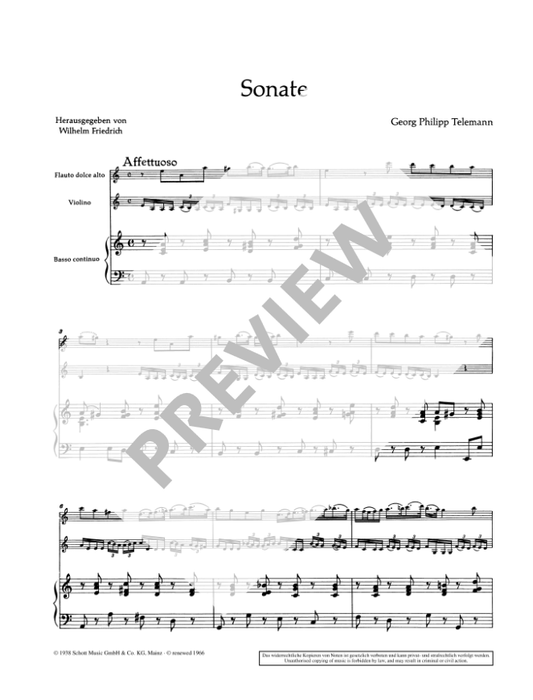 Telemann: Trio Sonata in a minor for Alto Recorder, Violin and Continuo