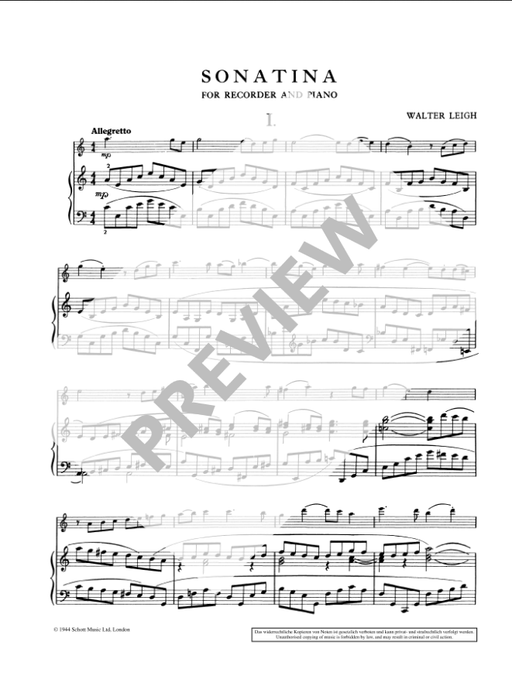 Leigh: Sonatina for Treble Recorder and Piano