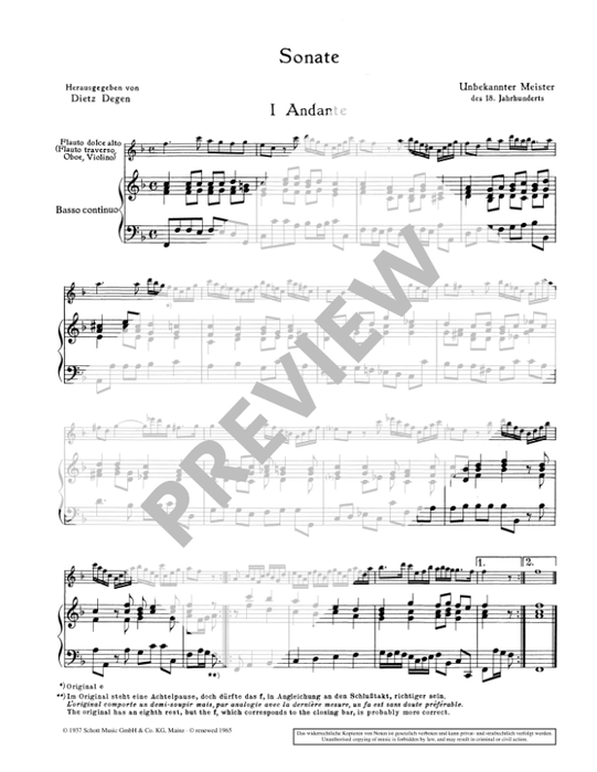 Anonymous: Sonata in F Major for Treble Recorder and Continuo