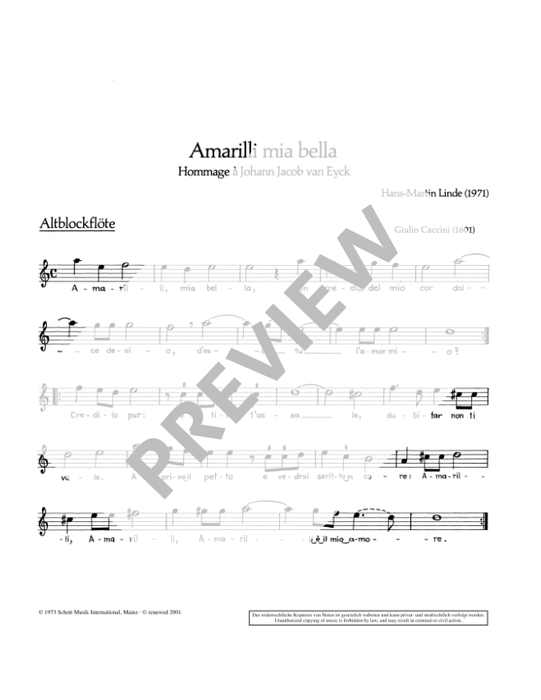 Linde: Amarilla mia bella for Recorder