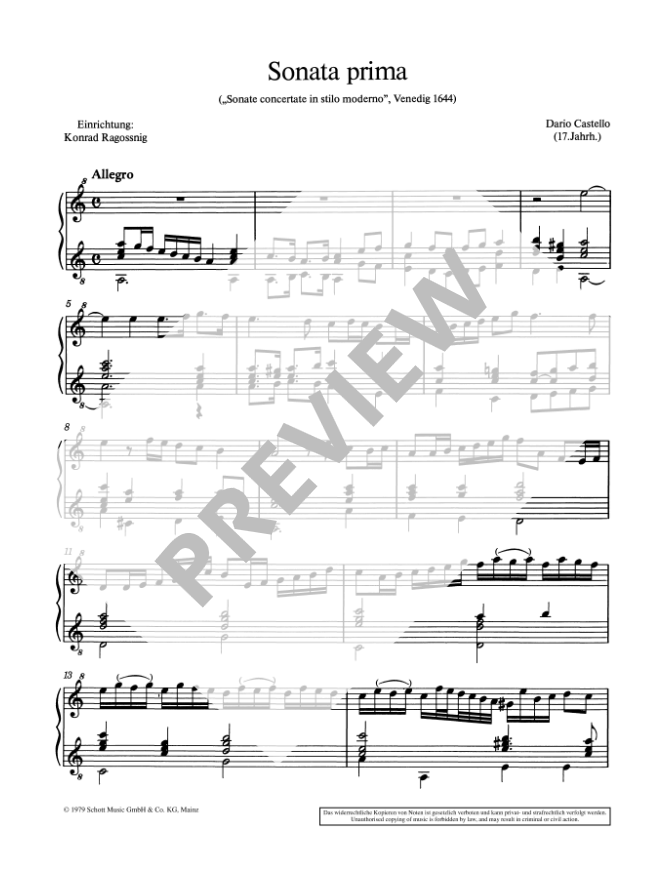 Castello: Sonata Prima a Soprano Solo for Soprano Recorder and Guitar