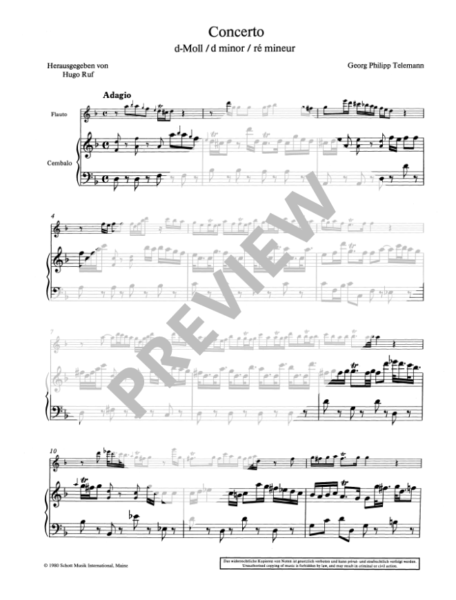 Telemann: Concerto in d minor for Treble Recorder and Harpsichord