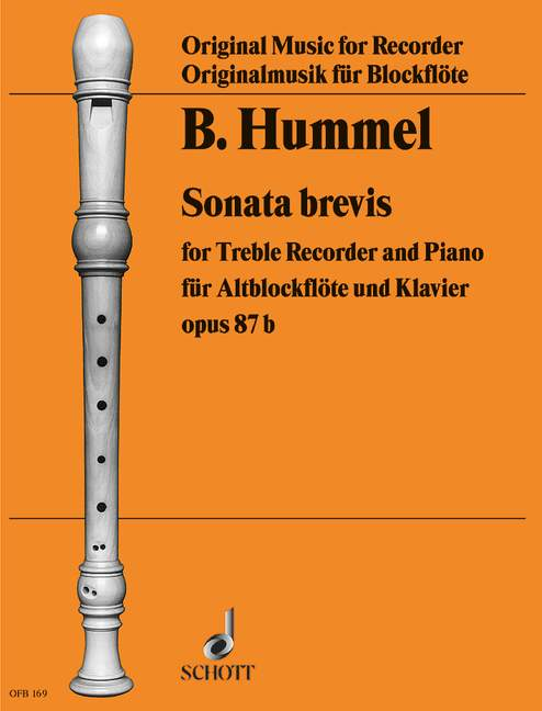 Hummel: Sonata Brevis Op. 87b for Treble Recorder and Piano