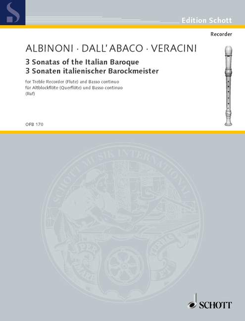 Various: 3 Sonatas of the Italian Baroque for Alto Recorder and Basso Continuo