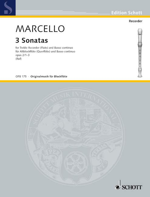 Marcello: 3 Sonatas for Treble Recorder and Basso Continuo