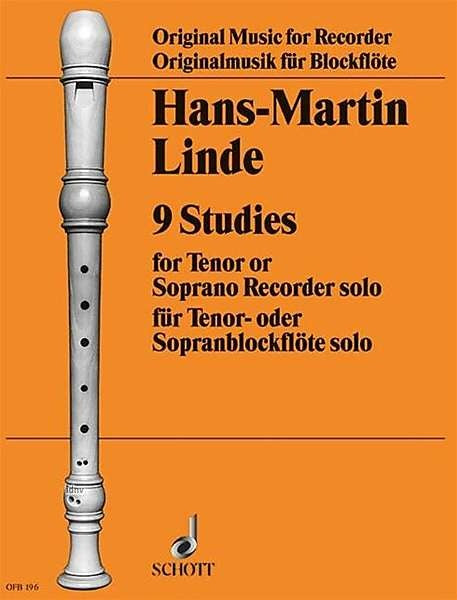 Linde: 9 Studies for Tenor or Descant Recorder Solo