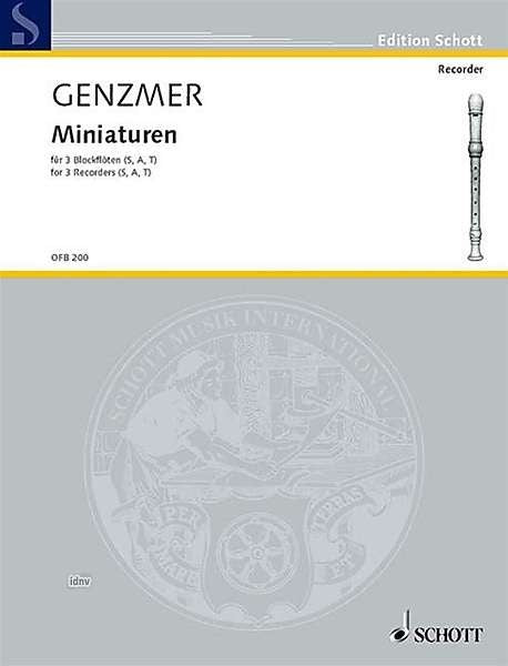 Genzmer: Miniatures for 3 Recorders